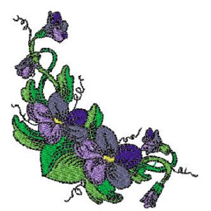 Beautiful Violet Corner Embroidery Design