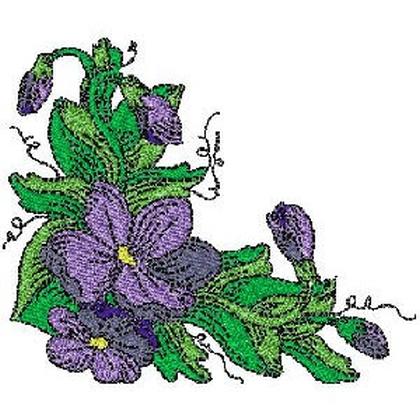 Filled Violet Corner Embroidery Design