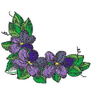Leaves and Violets Corner Embroidery Design