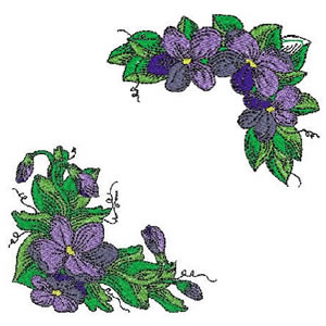 10 Set Violets and Corners Embroidery Design