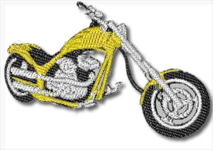 Harley Custom Chopper Embroidery Design