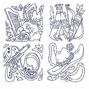 40 Redwork Western Embroidery Design