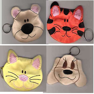 Zipped Animal Coin Bags Embroidery Design