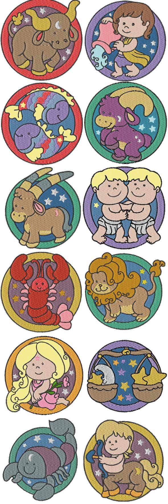 Set zodiac signs machine embroidery designs